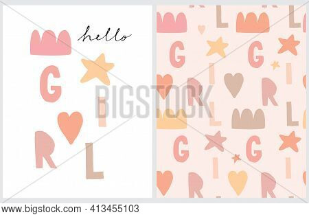 Hello Girl.cute Baby Shower Vector Illustration And Seamless Vector Pattern.hand Drawn Print Ideal F