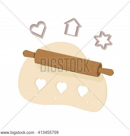 Rolling Pin Rolls Out The Dough. Cookie Cutters. Cooking Homemade Cookies