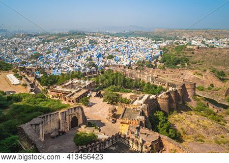 View Over Jodhpur From Mehrangarh Fort In Rajasthan, India