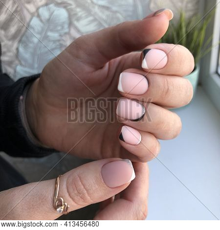 French Manicure On The Nails. French Manicure Design. Manicure Gel Nail Polish