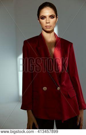 Woman In Red Jacket Moda Studio Model Decoration