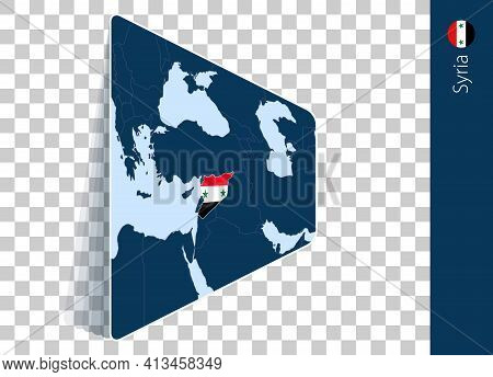 Syria Map And Flag On Transparent Background. Highlighted Syria On Blue Vector Map.