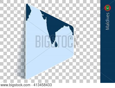 Maldives Map And Flag On Transparent Background. Highlighted Maldives On Blue Vector Map.