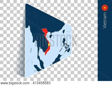 Vietnam Map And Flag On Transparent Background. Highlighted Vietnam On Blue Vector Map.