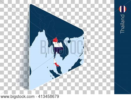 Thailand Map And Flag On Transparent Background. Highlighted Thailand On Blue Vector Map.