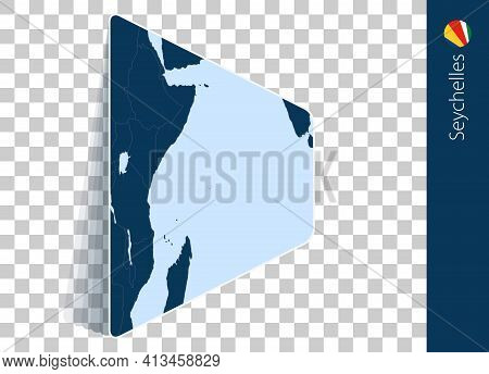 Seychelles Map And Flag On Transparent Background. Highlighted Seychelles On Blue Vector Map.