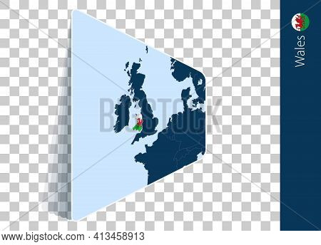 Wales Map And Flag On Transparent Background. Highlighted Wales On Blue Vector Map.