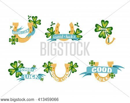 A Set Of Vector Illustrations With A Four-leaf Clover, A Horseshoe And A Ribbon And A Wish Of Good L