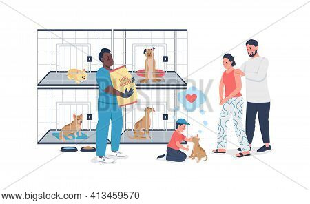 Family Adopting Dog From Rescue Shelter Flat Color Vector Detailed Character
