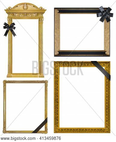 Set Of Frames With Black Mourning Ribbon For Paintings, Mirrors Or Photo Isolated On White Backgroun