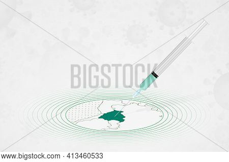 Bolivia Vaccination Concept, Vaccine Injection In Map Of Bolivia. Vaccine And Vaccination Against Co