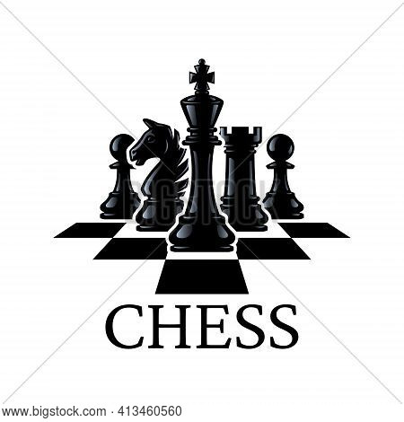 Chess Pieces Vector Illustration. Chess Pieces: King, Knight, Rook, Pawns On A Chessboard. Isolated
