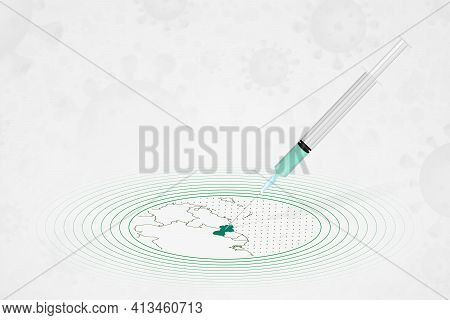 Guyana Vaccination Concept, Vaccine Injection In Map Of Guyana. Vaccine And Vaccination Against Coro