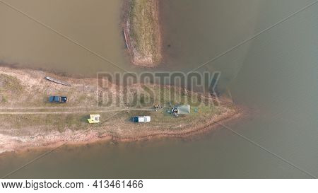 Aerial Photo, Small Island In The Reservoir.