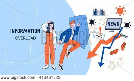 Information Overload Website Banner With People Protecting Themselves From Flow Of Information And N