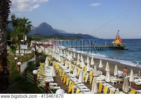 Deserted Sea Beach. Coast Of Turkey Kemer. Turkey Hotels.