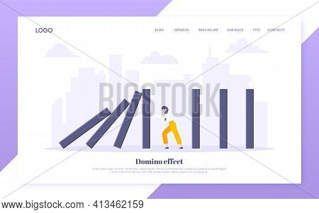 Domino Effect Business Resilience Metaphor Vector Illustration Concept.