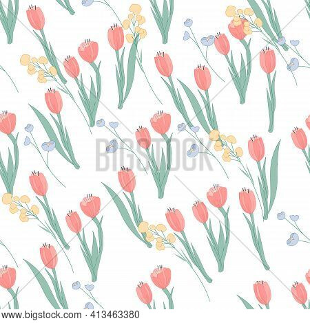 Seamless Pattern With Tulips And Other Wild Spring Flowers, Flat Vector Illustration On White Backgr