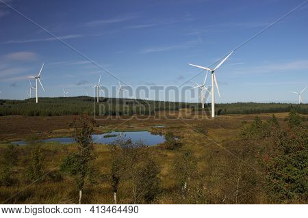 View Across Whitelee Windfarm In East Renfrewshire, Scotland.