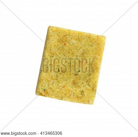 Bouillon Cube On White Background. Broth Concentrate