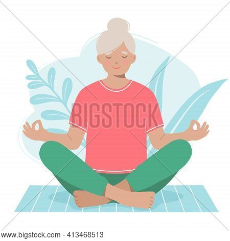 Mature Woman Meditates On A Yoga Mat Isolated On A White Background. Vector