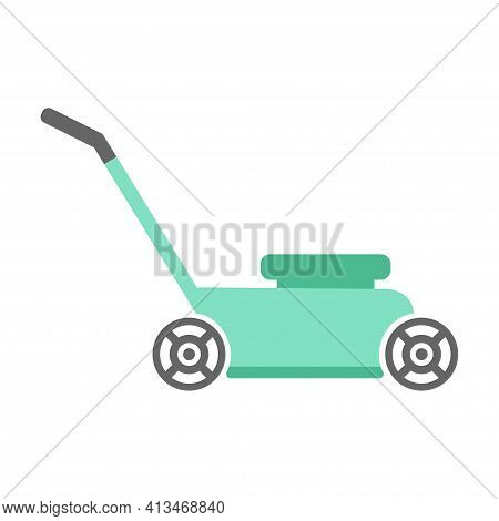 Lawn Mower In Flat Design Isolated On White Background, Vector Illustration, Gardening Concept With