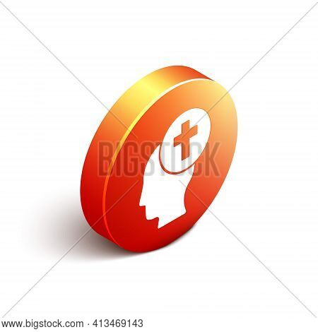 Isometric Man Graves Funeral Sorrow Icon Isolated On White Background. The Emotion Of Grief, Sadness