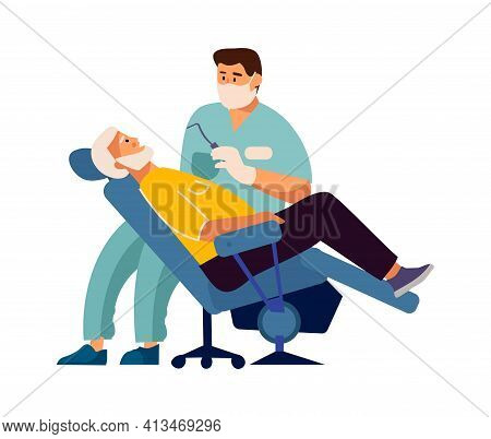 Dentist Treats Patient Teeth. Stomatology Concept. Man Sitting In Medical Armchair, Dental Doctor Ch