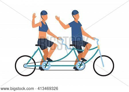 People On Tandem Bike. Happy Male And Female Character Ride On Twin Bicycle And Waving Hand, Couple