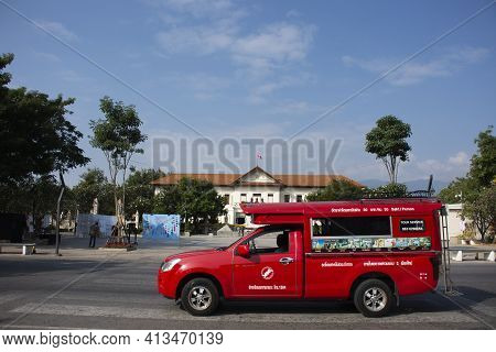 Thai Driver People Driving Red Pickup Car Send And Receive Traveler Passenger Travel Visit Chiang Ma