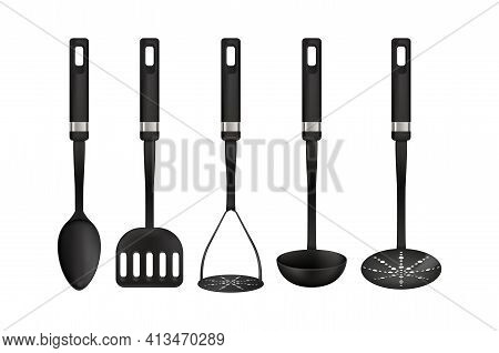 Cooking Tools. 3d Realistic Utensil. Types Set Of Household Appliances For Preparing Food. Black Spo