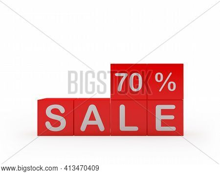 Red Cubes With The Text Sale Seventy Percent. 3d Illustration