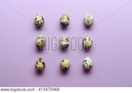 Quail Eggs Pattern. Quail Eggs On Violet Background. Pattern