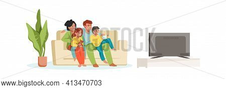 Family Watching Tv. Parents And Children At Home. Cartoon Mother And Father With Kids Embracing Sitt