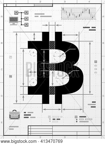 Bitcoin Symbol As Technical Drawing. Stylized Drafting Of Money Sign With Title Block. Vector Illust