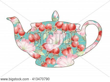 Dog Rose Flowers Teapot Concept Illustration. Rosehip Tea, Teapot Decorated With Pink Dog Rose Flowe