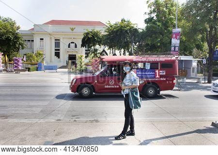 Travelers Thai Women Walking Beside Road And People Driving Red Pickup Car Send And Receive Passenge