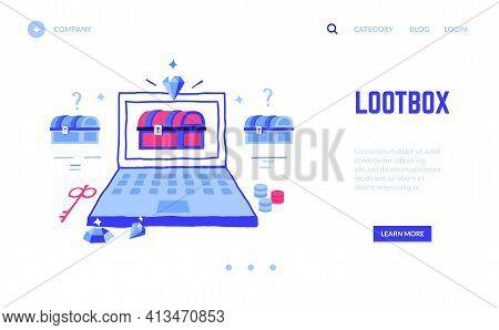 Loot Box Landing Page. Win Treasure In Computer Game Or Jackpot In Online Casino Gambling. Website D