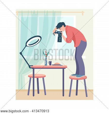 Photo Studio. Cartoon Woman Taking Pictures Standing On Chair. Young Female Shooting Photographs Of
