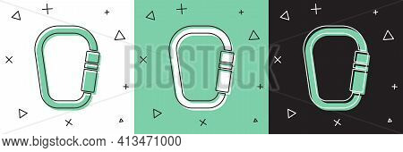 Set Carabiner Icon Isolated On White And Green, Black Background. Extreme Sport. Sport Equipment. Ve