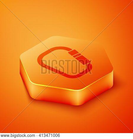 Isometric Carabiner Icon Isolated On Orange Background. Extreme Sport. Sport Equipment. Orange Hexag