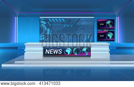 Studio For Recording Tv Breaking News. Realistic 3d Broadcasting Room With Speakers Table And Televi