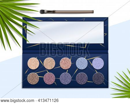 Eyeshadow Palette. Realistic Makeup Color Box Kit With Brush And Mirror. Top View Of Glitter Paint F