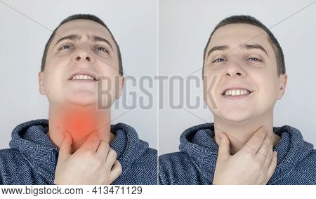 Before And After. On The Left, The Man Indicates A Sore Throat, And On The Right Indicates That The