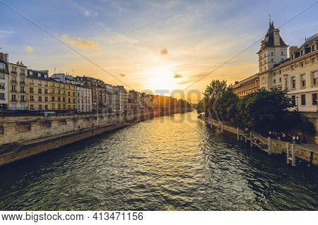 Court Of Cassation Of France In Paris And Left Bank Of Seine River At Dusk
