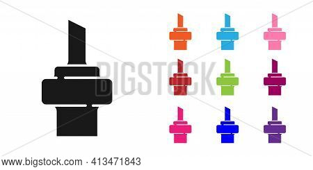 Black Wooden Cork For Wine Icon Isolated On White Background. Set Icons Colorful. Vector