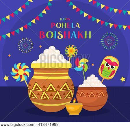 Happy Pohela Boishakh Greeting Card. Bengali New Year Template For Your Design. Vector Illustration