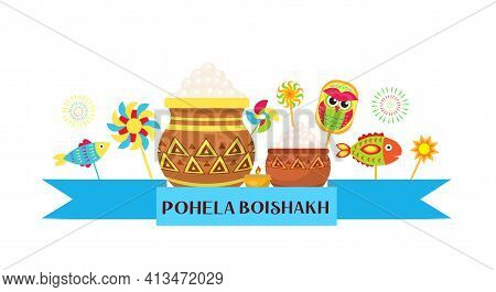 Happy Pohela Boishakh Banner. Bengali New Year Template For Your Design. Vector Illustration