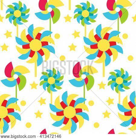 Paper Windmill Children Seamless Pattern .garden Windmill Summer Endless Background, Texture. Vector