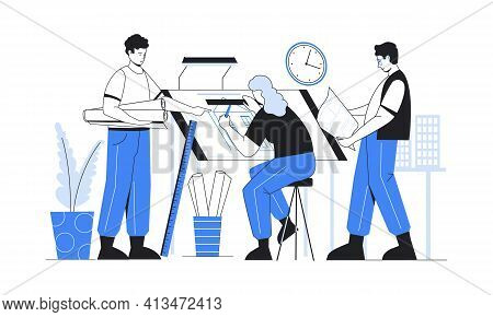 Architect Work. Construction Engineers Working On Residential Building Project. Woman Drafting Bluep
